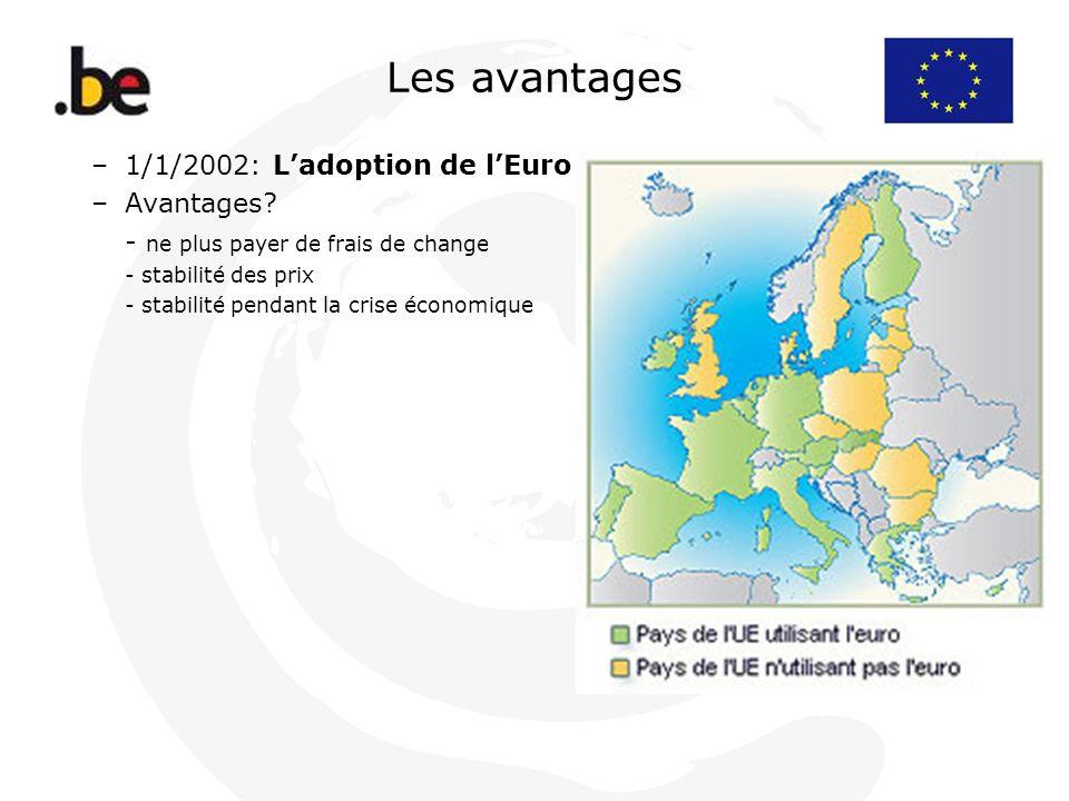 Les avantages –1/1/2002: Ladoption de lEuro –Avantages? - ne plus payer de frais de change - stabilité des prix - stabilité pendant la crise économiqu