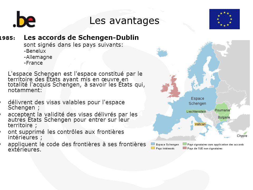 Les avantages 1985: Les accords de Schengen-Dublin sont signés dans les pays suivants: -Benelux -Allemagne -France L'espace Schengen est l'espace cons