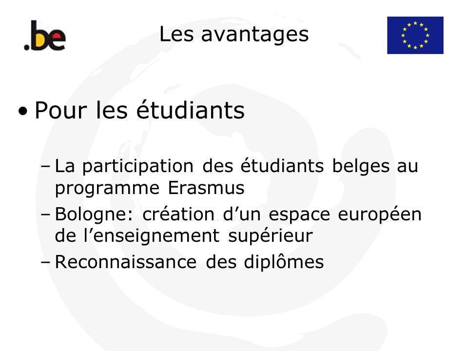 Les avantages Pour les étudiants –La participation des étudiants belges au programme Erasmus –Bologne: création dun espace européen de lenseignement s