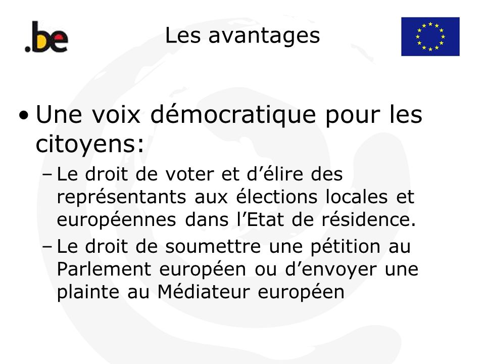 Les avantages Une voix démocratique pour les citoyens: –Le droit de voter et délire des représentants aux élections locales et européennes dans lEtat