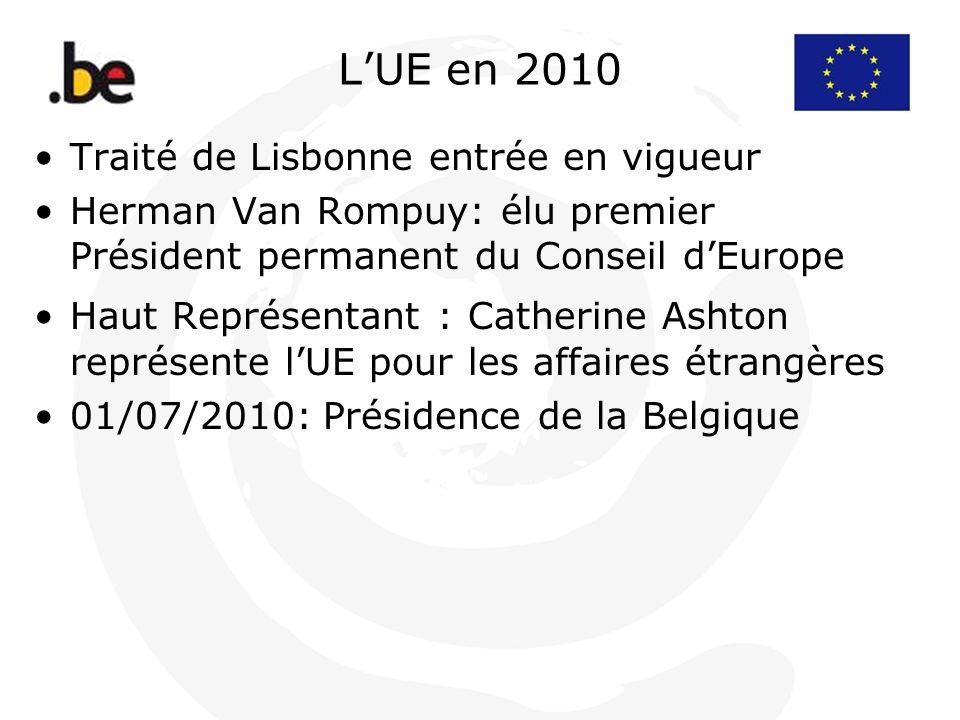 LUE en 2010 Traité de Lisbonne entrée en vigueur Herman Van Rompuy: élu premier Président permanent du Conseil dEurope Haut Représentant : Catherine A