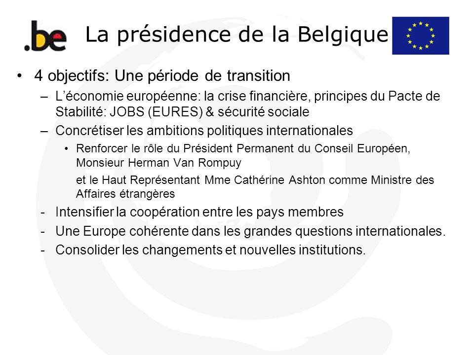 La présidence de la Belgique 4 objectifs: Une période de transition –Léconomie européenne: la crise financière, principes du Pacte de Stabilité: JOBS