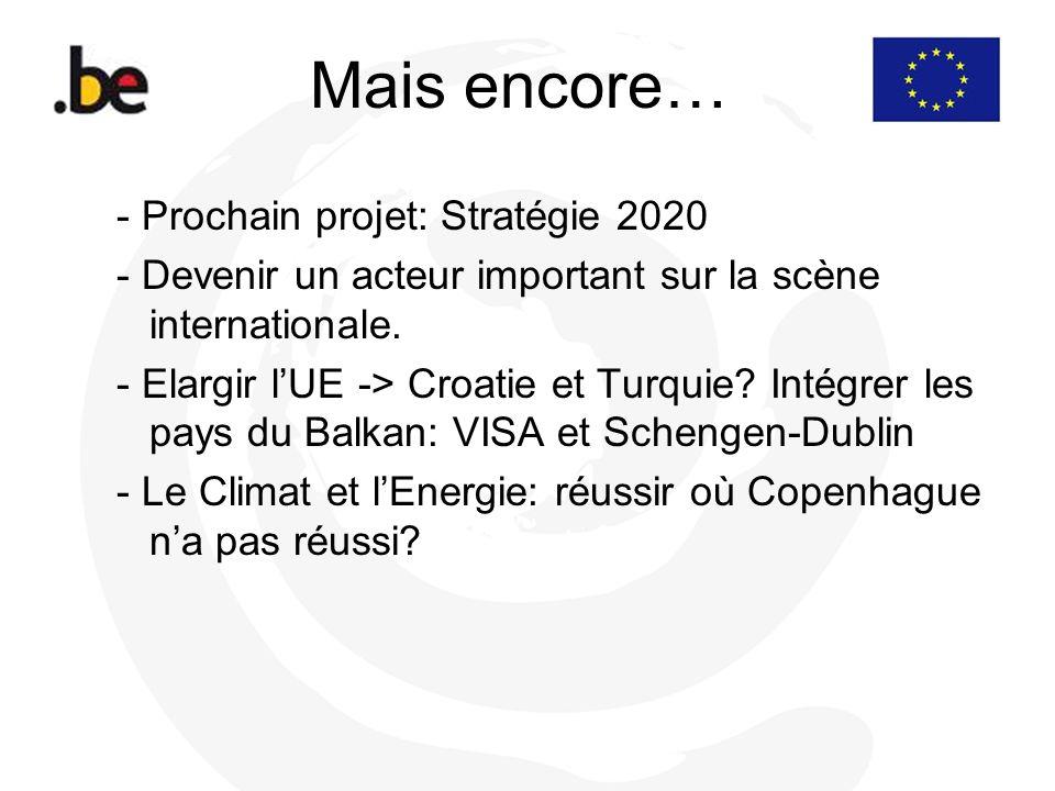 Mais encore… - Prochain projet: Stratégie 2020 - Devenir un acteur important sur la scène internationale. - Elargir lUE -> Croatie et Turquie? Intégre