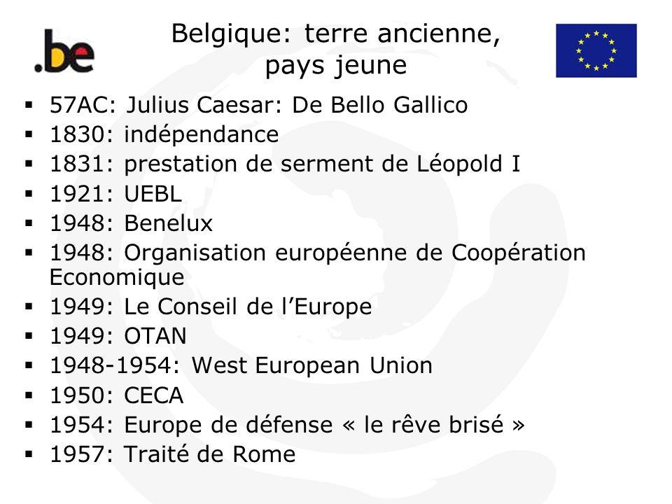 Belgique: terre ancienne, pays jeune 57AC: Julius Caesar: De Bello Gallico 1830: indépendance 1831: prestation de serment de Léopold I 1921: UEBL 1948