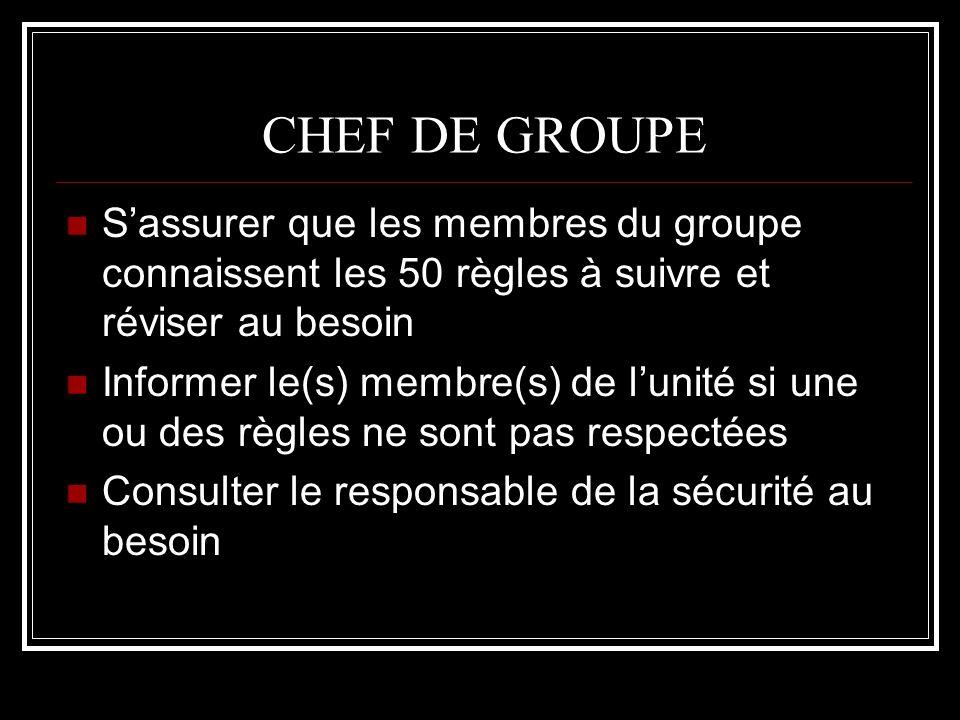 CHEF DE GROUPE Sassurer que les membres du groupe connaissent les 50 règles à suivre et réviser au besoin Informer le(s) membre(s) de lunité si une ou
