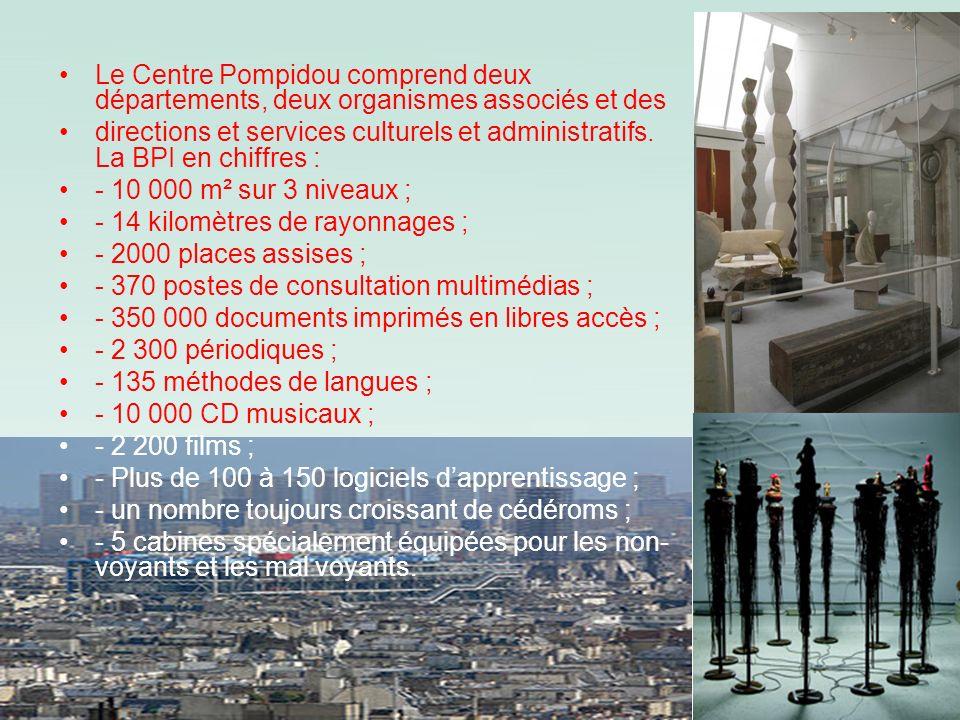 Le Centre Pompidou comprend deux départements, deux organismes associés et des directions et services culturels et administratifs. La BPI en chiffres
