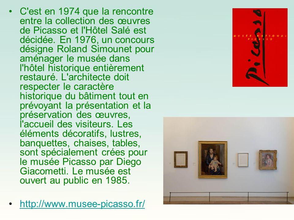 C'est en 1974 que la rencontre entre la collection des œuvres de Picasso et l'Hôtel Salé est décidée. En 1976, un concours désigne Roland Simounet pou
