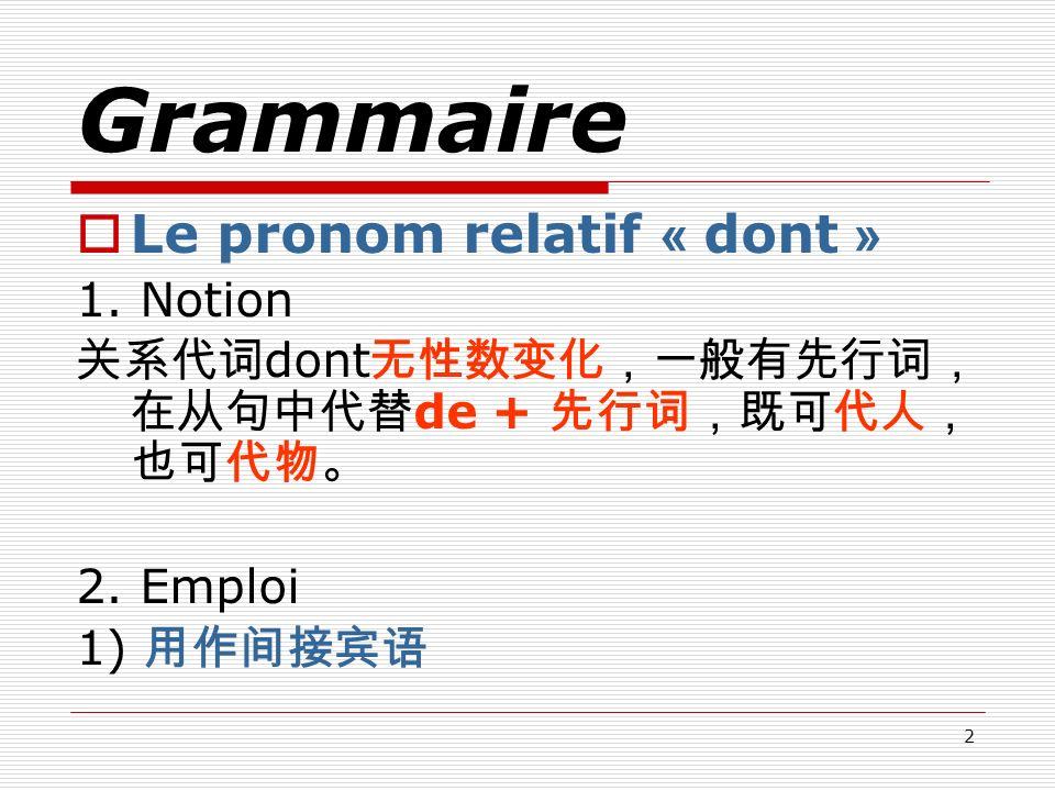 2 Grammaire Le pronom relatif « dont » 1. Notion dont de + 2. Emploi 1)