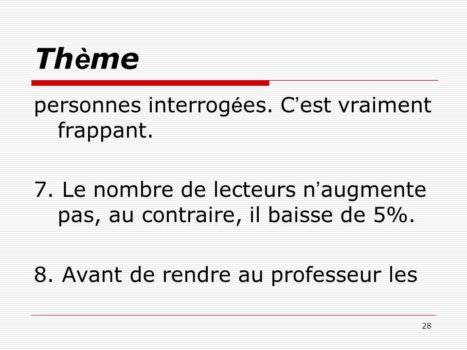 28 Th è me personnes interrog é es. C est vraiment frappant. 7. Le nombre de lecteurs n augmente pas, au contraire, il baisse de 5%. 8. Avant de rendr