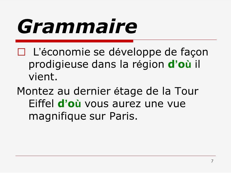 7 Grammaire L é conomie se d é veloppe de fa ç on prodigieuse dans la r é gion d o ù il vient. Montez au dernier é tage de la Tour Eiffel d o ù vous a