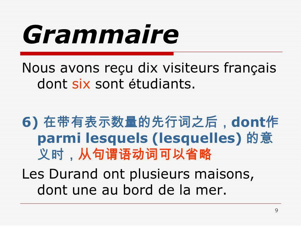 9 Grammaire Nous avons re ç u dix visiteurs fran ç ais dont six sont é tudiants. 6) dont parmi lesquels (lesquelles) Les Durand ont plusieurs maisons,