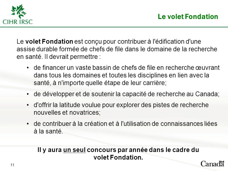 Le volet Fondation est conçu pour contribuer à l'édification d'une assise durable formée de chefs de file dans le domaine de la recherche en santé. Il