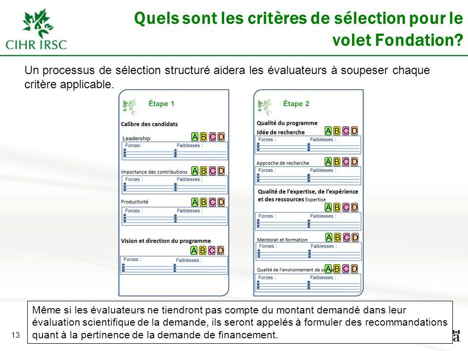 13 Quels sont les critères de sélection pour le volet Fondation? Un processus de sélection structuré aidera les évaluateurs à soupeser chaque critère