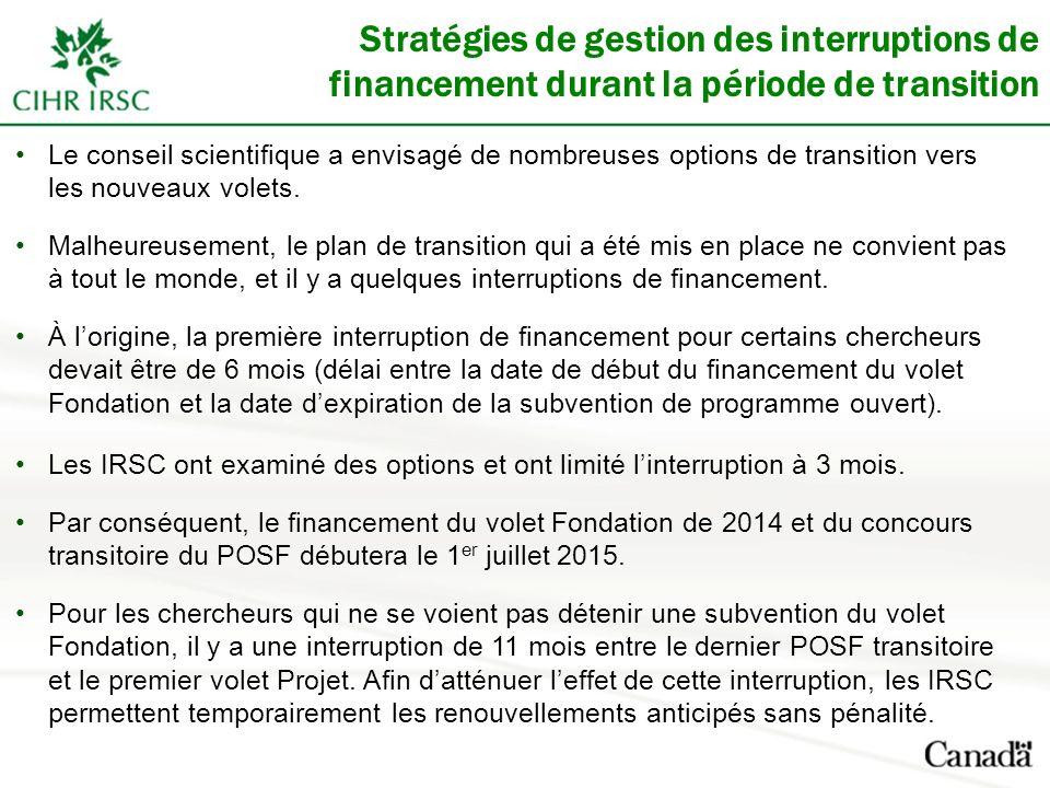 Stratégies de gestion des interruptions de financement durant la période de transition Le conseil scientifique a envisagé de nombreuses options de tra