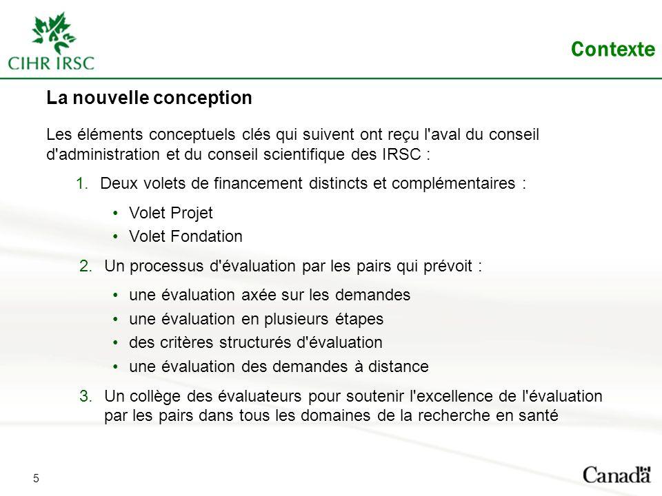 La nouvelle conception Les éléments conceptuels clés qui suivent ont reçu l'aval du conseil d'administration et du conseil scientifique des IRSC : 1.D