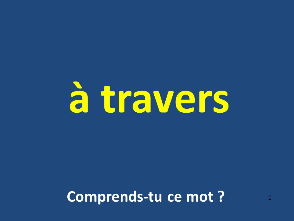à travers 1 Comprends-tu ce mot ?