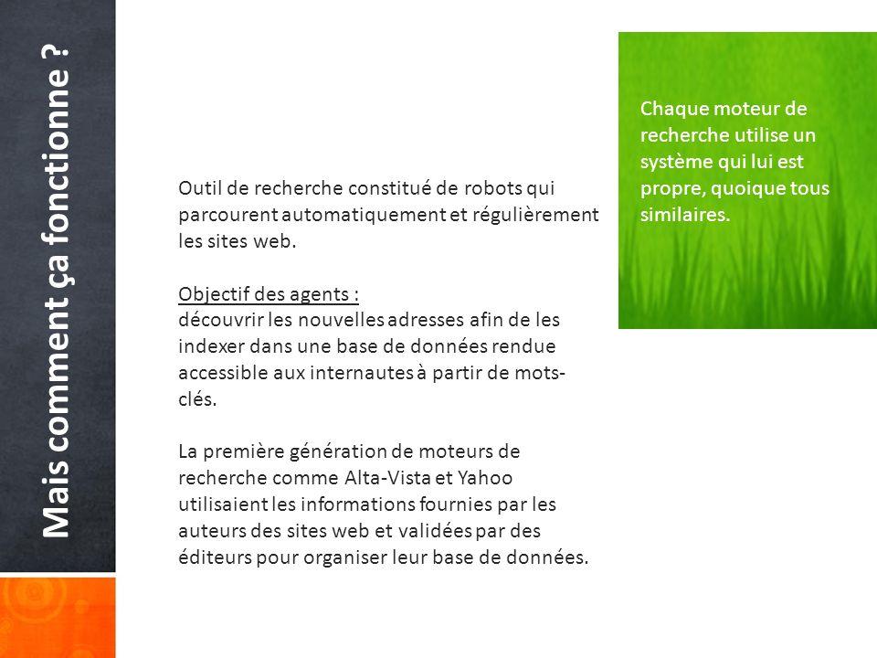 Pour plus dinformation… http://lrcm.com.umontreal.ca/Dufresne/COM7162/DufresneFiltres.pdf http://www.google.com/support/webmasters/bin/answer.py?answer=35769 http://www.seo.com/ http://www.indicateur.com/Doc/robots-indexation.asp http://marketshare.hitslink.com/search-engine-market- share.aspx?qprid=4&qptimeframe=Y http://www.clubic.com/actualite-321722-recherche-google-leader-microsoft- remonte.html http://www.google.com/support/webmasters/bin/answer.py?answer=35769