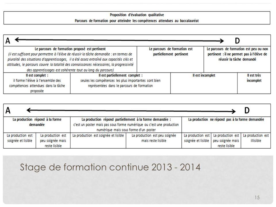 15 Stage de formation continue 2013 - 2014