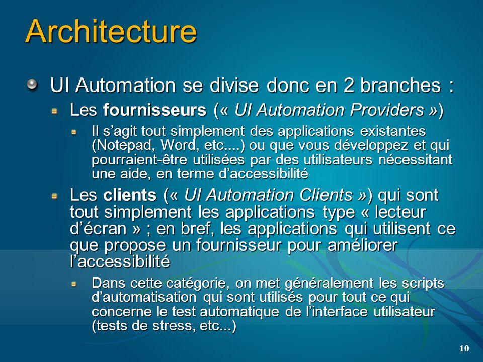 Architecture UI Automation se divise donc en 2 branches : Les fournisseurs (« UI Automation Providers ») Il sagit tout simplement des applications existantes (Notepad, Word, etc....) ou que vous développez et qui pourraient-être utilisées par des utilisateurs nécessitant une aide, en terme daccessibilité Les clients (« UI Automation Clients ») qui sont tout simplement les applications type « lecteur décran » ; en bref, les applications qui utilisent ce que propose un fournisseur pour améliorer laccessibilité Dans cette catégorie, on met généralement les scripts dautomatisation qui sont utilisés pour tout ce qui concerne le test automatique de linterface utilisateur (tests de stress, etc...) 10