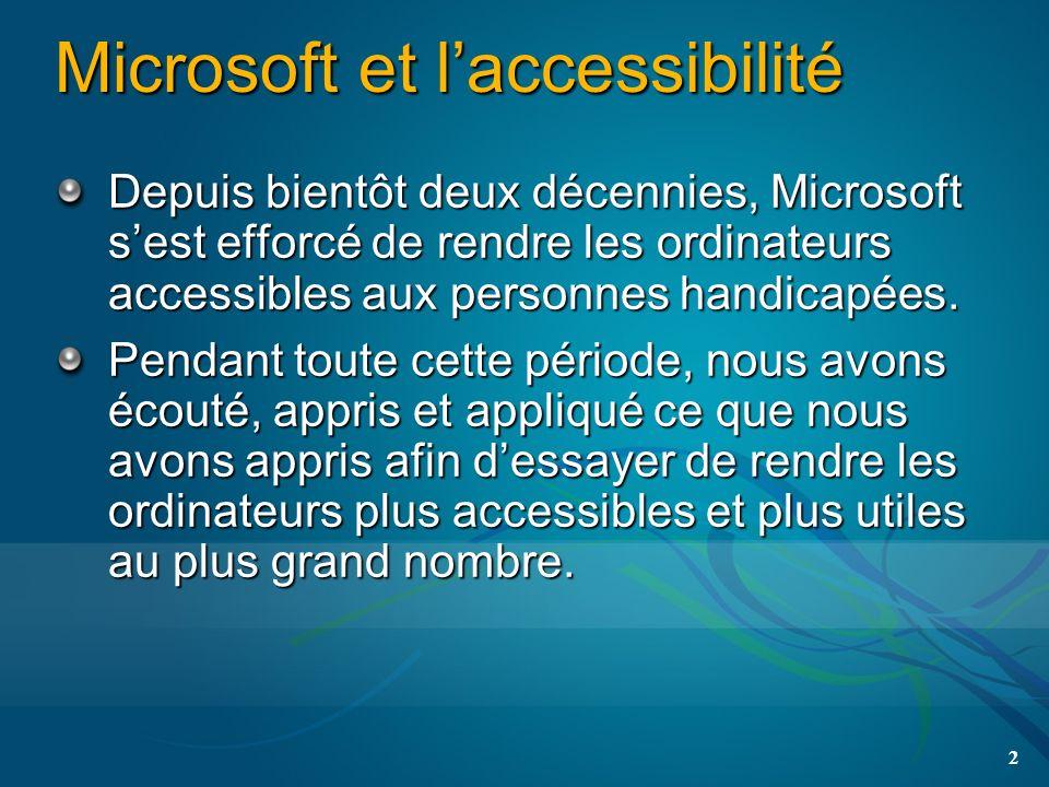 Microsoft et laccessibilité Depuis bientôt deux décennies, Microsoft sest efforcé de rendre les ordinateurs accessibles aux personnes handicapées.