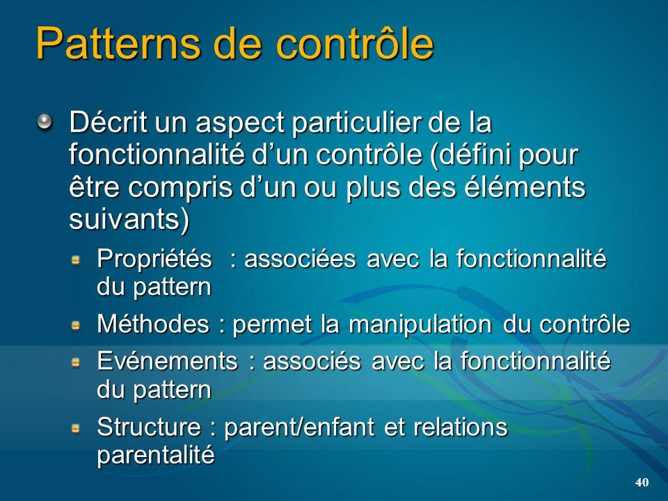 Patterns de contrôle Décrit un aspect particulier de la fonctionnalité dun contrôle (défini pour être compris dun ou plus des éléments suivants) Propriétés : associées avec la fonctionnalité du pattern Méthodes : permet la manipulation du contrôle Evénements : associés avec la fonctionnalité du pattern Structure : parent/enfant et relations parentalité 40