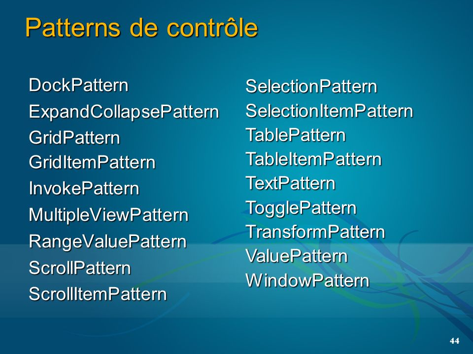 44 Patterns de contrôle DockPatternExpandCollapsePatternGridPatternGridItemPatternInvokePatternMultipleViewPatternRangeValuePatternScrollPatternScrollItemPattern SelectionPatternSelectionItemPatternTablePatternTableItemPatternTextPatternTogglePatternTransformPatternValuePatternWindowPattern