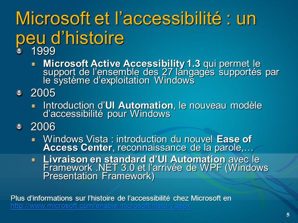 Microsoft et laccessibilité : un peu dhistoire 1999 Microsoft Active Accessibility 1.3 qui permet le support de lensemble des 27 langages supportés par le système dexploitation Windows 2005 Introduction dUI Automation, le nouveau modèle daccessibilité pour Windows 2006 Windows Vista : introduction du nouvel Ease of Access Center, reconnaissance de la parole,… Livraison en standard dUI Automation avec le Framework.NET 3.0 et larrivée de WPF (Windows Presentation Framework) 5 Plus dinformations sur lhistoire de laccessibilité chez Microsoft en http://www.microsoft.com/enable/microsoft/history.aspx http://www.microsoft.com/enable/microsoft/history.aspx