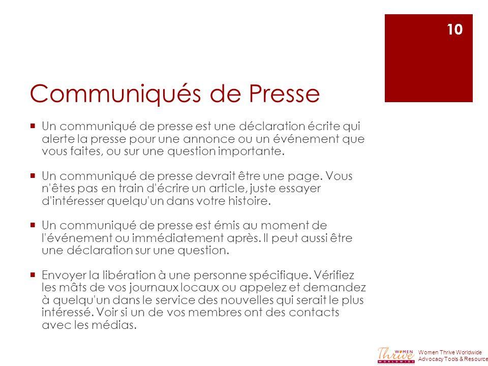 Communiqués de Presse Un communiqué de presse est une déclaration écrite qui alerte la presse pour une annonce ou un événement que vous faites, ou sur