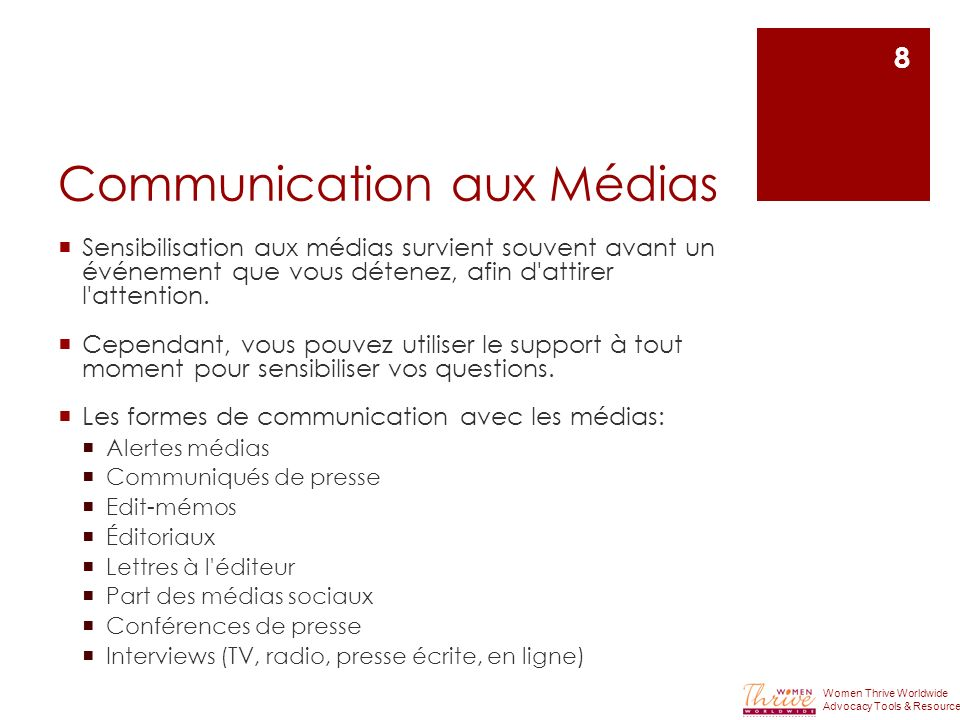 Communication aux Médias Sensibilisation aux médias survient souvent avant un événement que vous détenez, afin d attirer l attention.