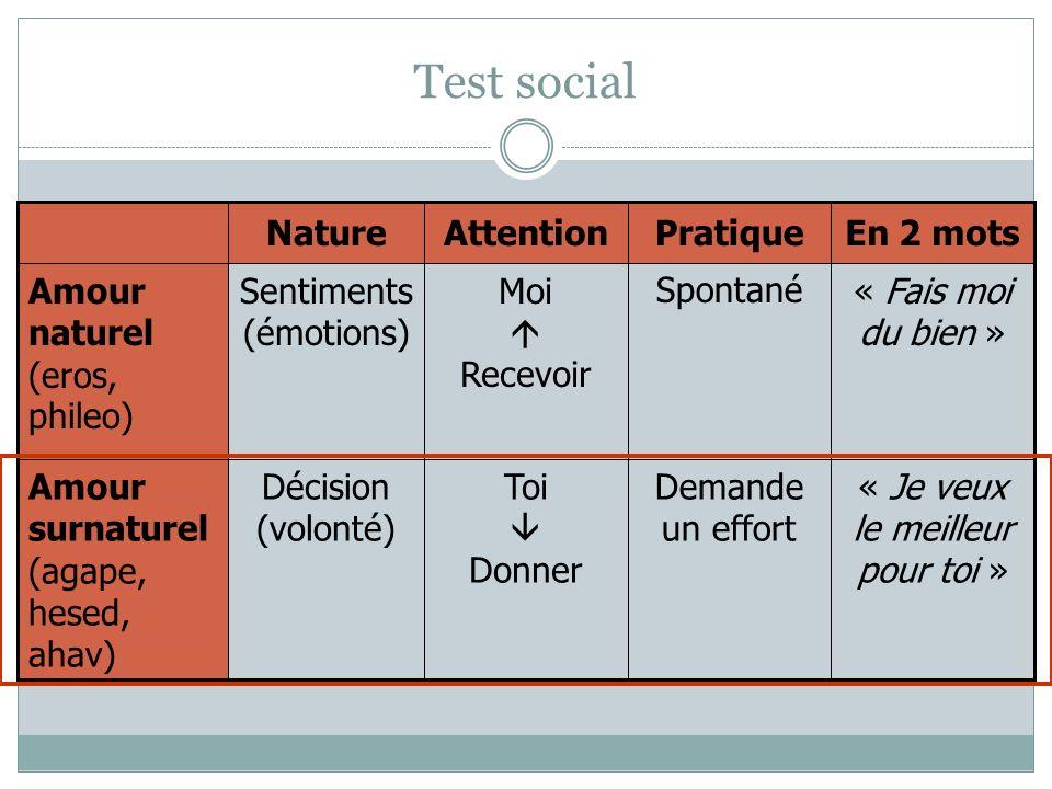 Test social Demande un effort « Je veux le meilleur pour toi » Toi Donner Décision (volonté) « Fais moi du bien » SpontanéMoi Recevoir Sentiments (émo