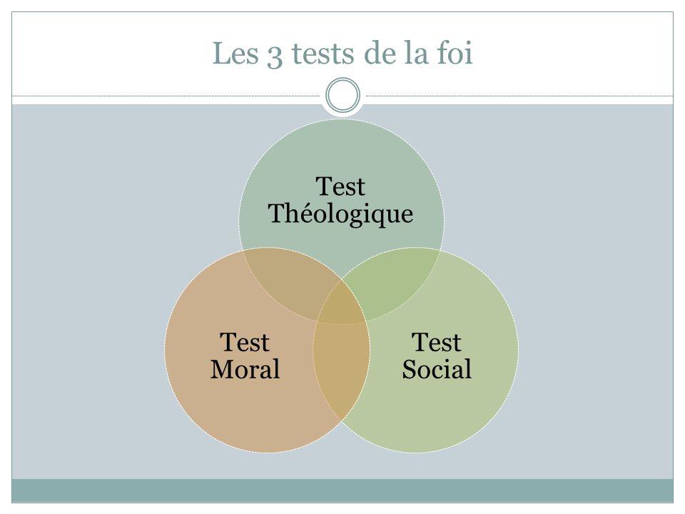 Les 3 tests de la foi Test Théologique Test Social Test Moral