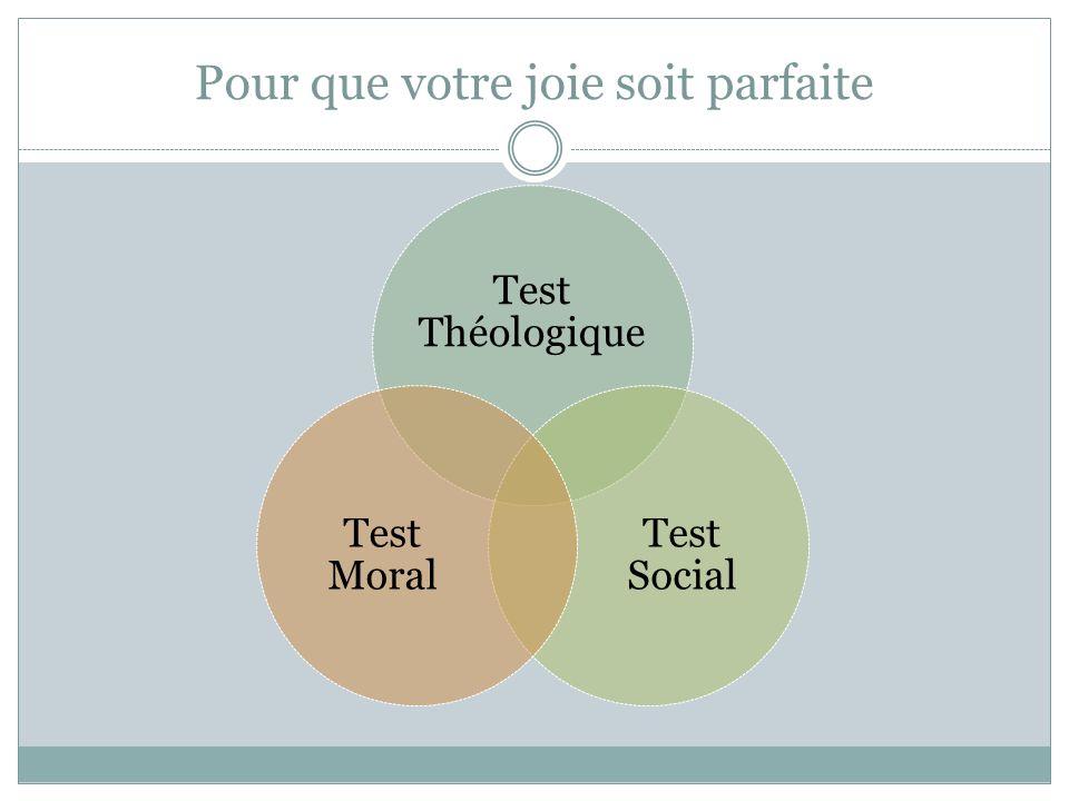 Pour que votre joie soit parfaite Test Théologique Test Social Test Moral