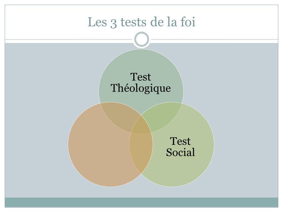 Les 3 tests de la foi Test Théologique Test Social