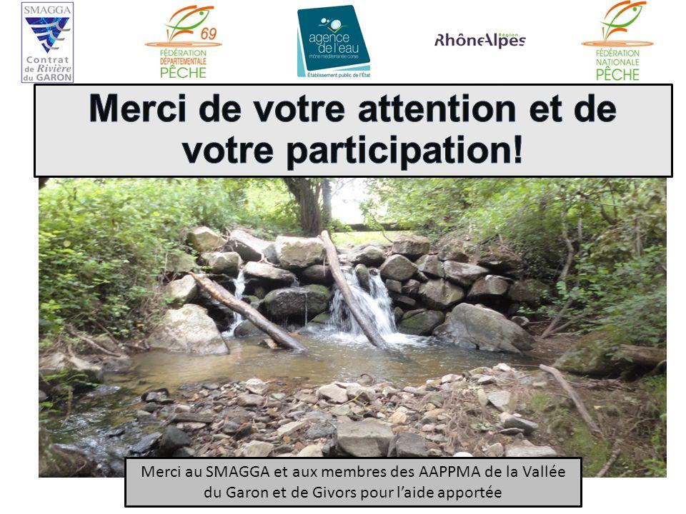 Merci au SMAGGA et aux membres des AAPPMA de la Vallée du Garon et de Givors pour laide apportée
