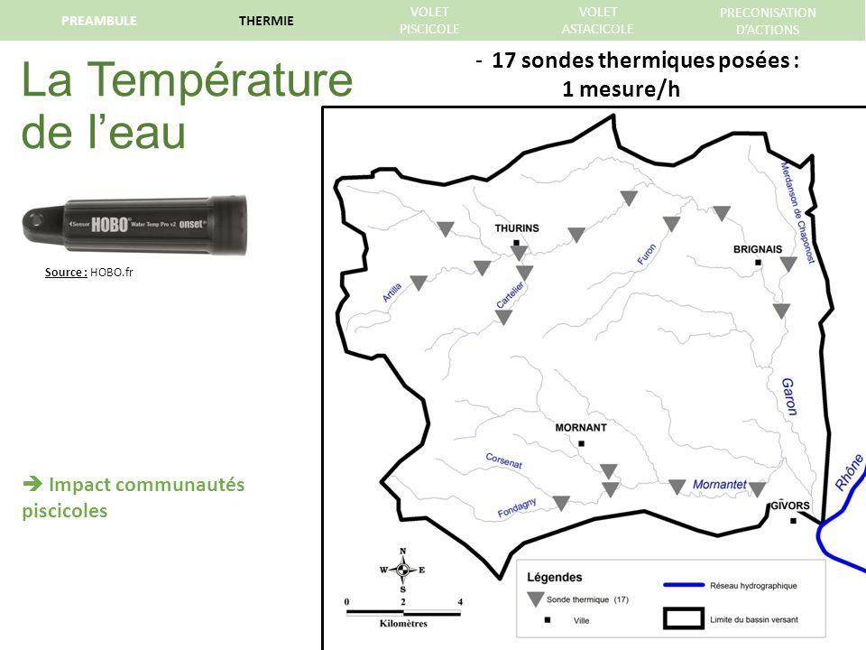 La Température de leau Source : HOBO.fr Impact communautés piscicoles -17 sondes thermiques posées : 1 mesure/h PREAMBULETHERMIE VOLET PISCICOLE VOLET ASTACICOLE PRECONISATION DACTIONS