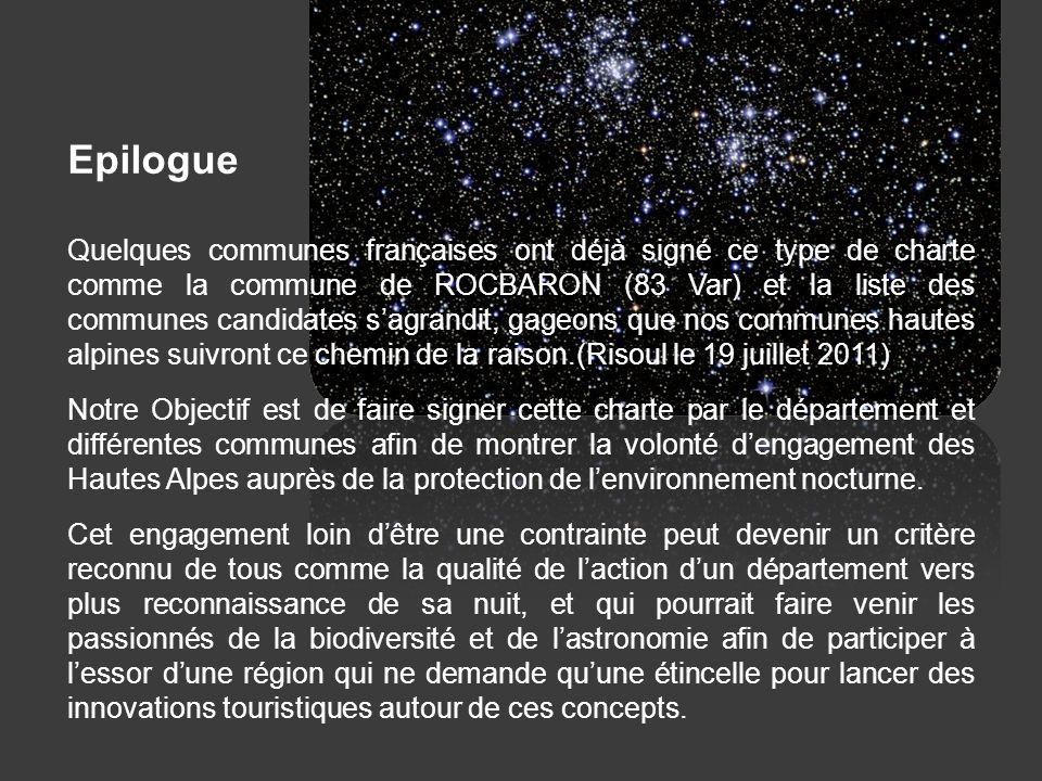 Epilogue Quelques communes françaises ont déjà signé ce type de charte comme la commune de ROCBARON (83 Var) et la liste des communes candidates sagra