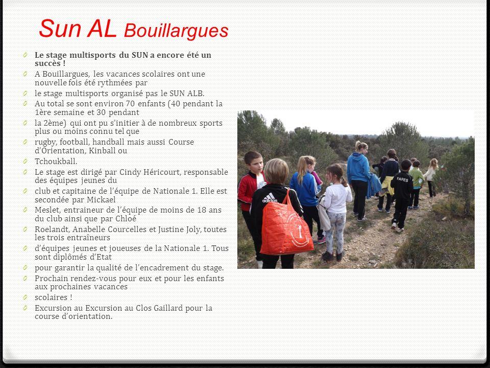 Sun AL Bouillargues 0 Le stage multisports du SUN a encore été un succès ! 0 A Bouillargues, les vacances scolaires ont une nouvelle fois été rythmées