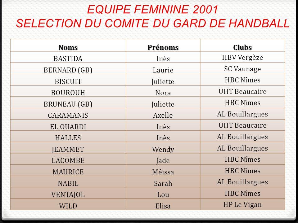 EQUIPE FEMININE 2001 SELECTION DU COMITE DU GARD DE HANDBALL NomsPrénomsClubs BASTIDAInès HBV Vergèze BERNARD (GB)Laurie SC Vaunage BISCUITJuliette HB