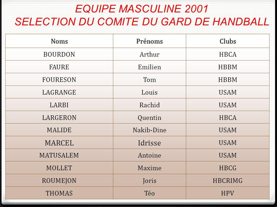 EQUIPE MASCULINE 2001 SELECTION DU COMITE DU GARD DE HANDBALL NomsPrénomsClubs BOURDONArthurHBCA FAUREEmilienHBBM FOURESONTomHBBM LAGRANGELouisUSAM LA