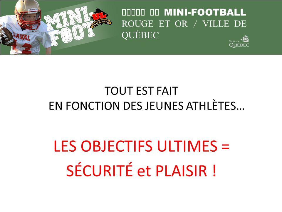 LIGUE DE MINI-FOOTBALL ROUGE ET OR / VILLE DE QUÉBEC TOUT EST FAIT EN FONCTION DES JEUNES ATHLÈTES… LES OBJECTIFS ULTIMES = SÉCURITÉ et PLAISIR !
