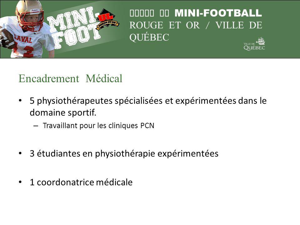 LIGUE DE MINI-FOOTBALL ROUGE ET OR / VILLE DE QUÉBEC Encadrement Médical 5 physiothérapeutes spécialisées et expérimentées dans le domaine sportif. –