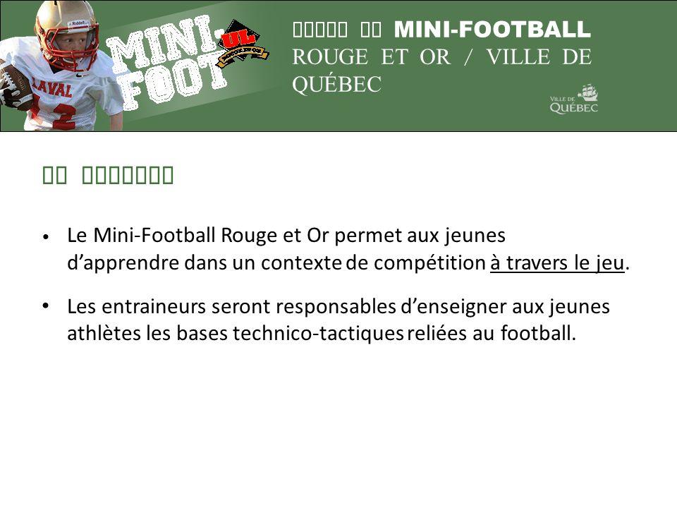 LIGUE DE MINI-FOOTBALL ROUGE ET OR / VILLE DE QUÉBEC LA MISSION Le Mini-Football Rouge et Or permet aux jeunes dapprendre dans un contexte de compétit