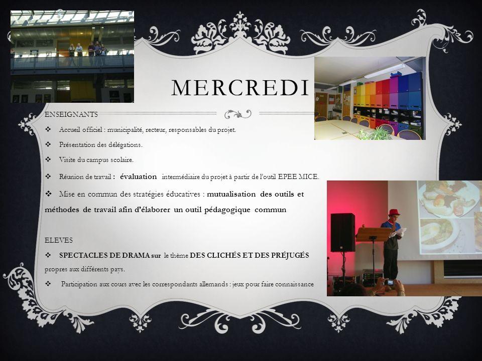 MERCREDI ENSEIGNANTS Accueil officiel : municipalité, recteur, responsables du projet.