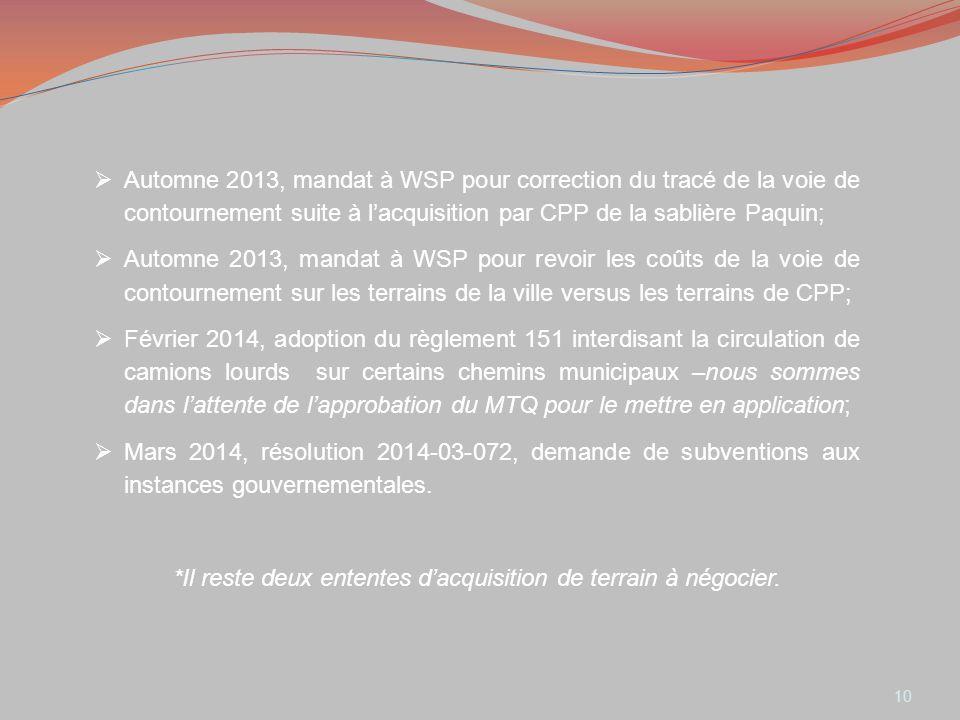 10 Automne 2013, mandat à WSP pour correction du tracé de la voie de contournement suite à lacquisition par CPP de la sablière Paquin; Automne 2013, m