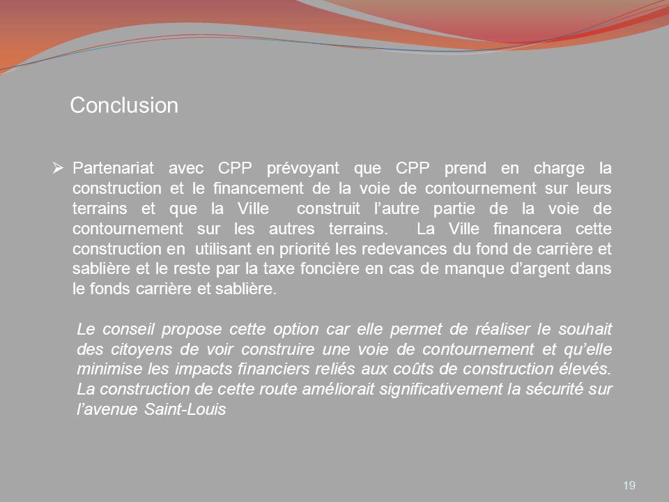 Conclusion Partenariat avec CPP prévoyant que CPP prend en charge la construction et le financement de la voie de contournement sur leurs terrains et
