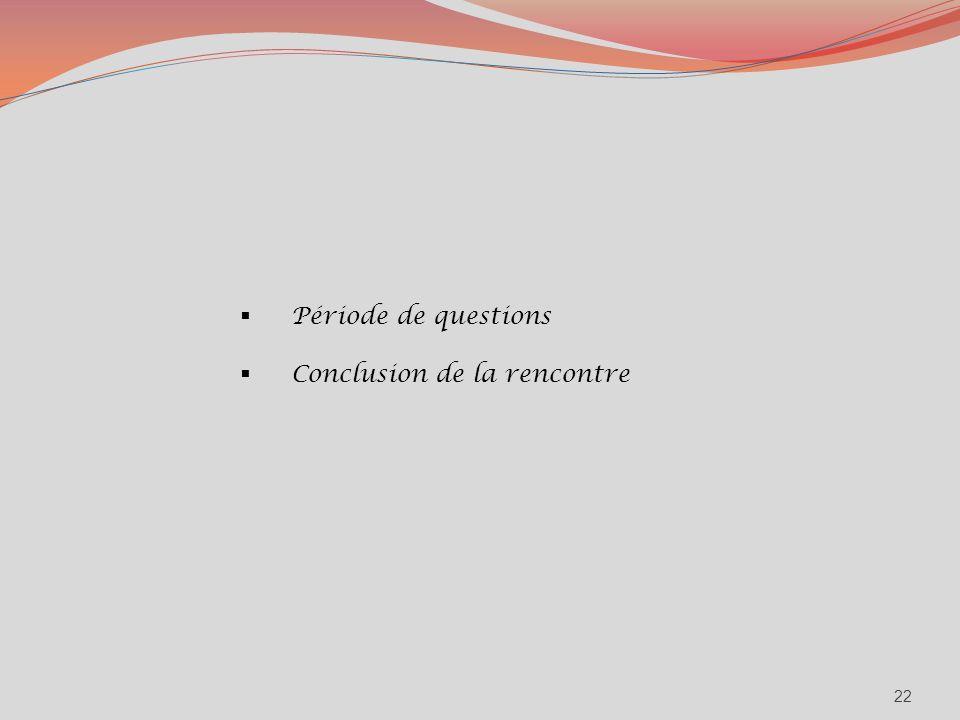 Période de questions Conclusion de la rencontre 22