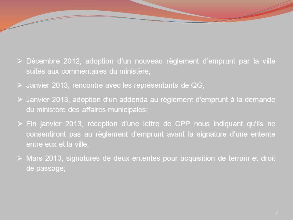 8 En avril 2013, dépôt des demandes de correction aux 7 passages à niveau existant; nous devons corriger toutes les déficiences aux passages à niveau existants avant dobtenir leur position concernant notre demande; Printemps 2013, proposition dun citoyen pour utiliser une parcelle de terrain le long de la voie ferré (côté nord) dans le but déliminer le passage à niveau de Saint-Jacques; Mai 2013 avis du ministère de la justice nous indiquant quils ne recommanderont pas lapprobation du règlement demprunt par le ministère des affaires municipales; Juin 2013, envoi dune correspondance à QG afin de leur proposer le retrait du passage à niveau Saint-Jacques pour lobtention dun nouveau passage pour la voie de contournement;