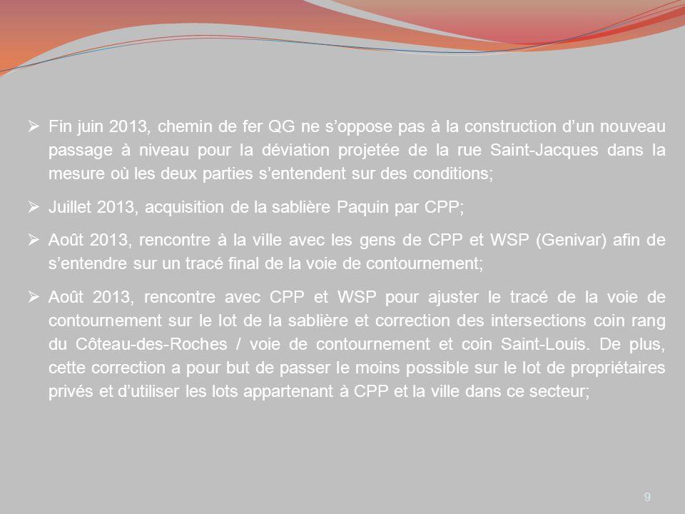 9 Fin juin 2013, chemin de fer QG ne soppose pas à la construction dun nouveau passage à niveau pour la déviation projetée de la rue Saint-Jacques dan