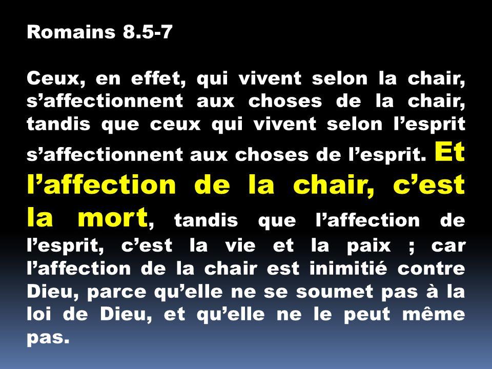 Romains 8.5-7 Ceux, en effet, qui vivent selon la chair, saffectionnent aux choses de la chair, tandis que ceux qui vivent selon lesprit saffectionnen