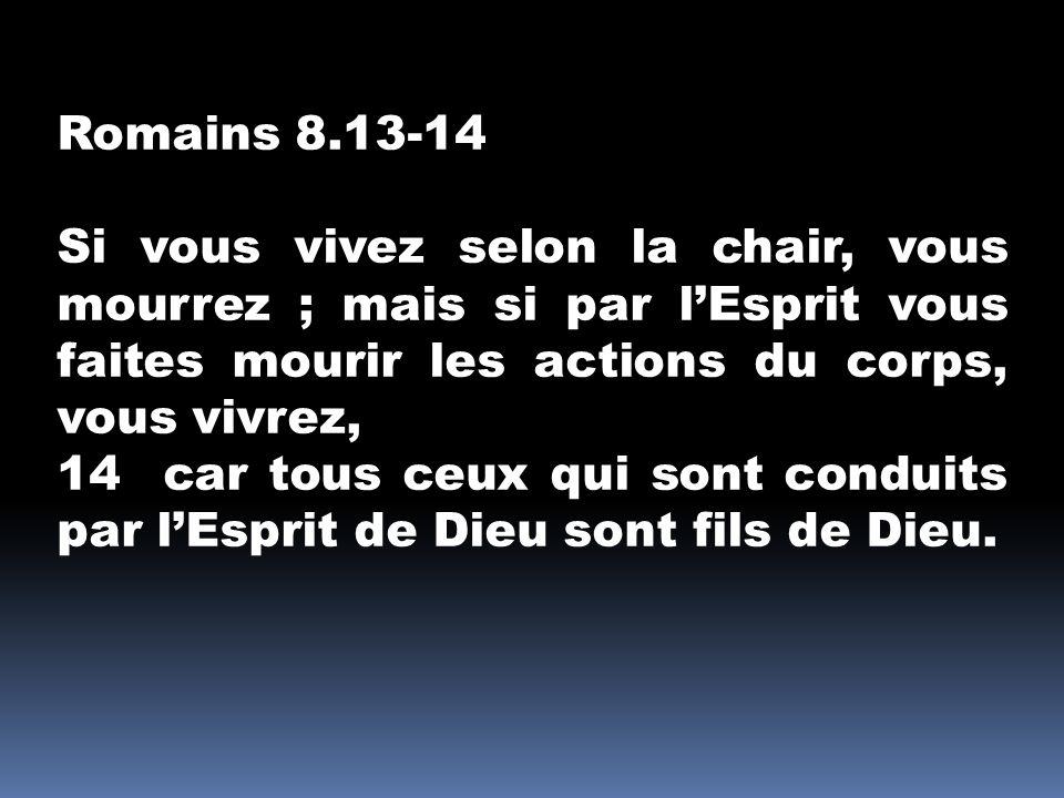 Romains 8.13-14 Si vous vivez selon la chair, vous mourrez ; mais si par lEsprit vous faites mourir les actions du corps, vous vivrez, 14 car tous ceu